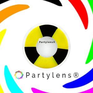 Bicolor zwart - geel contactlenzen www.partylens.nl